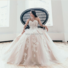 A Line Wedding Dresses 2019 Appliques Lace Tulle Sleeveless Lace Up Wedding Bridal Gown White Ivory Vestido De Noiva Custom Made