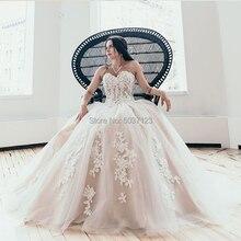 EEN Line Trouwjurken 2019 Applicaties Lace Tulle Mouwloze Lace Up Bruiloft Bruidsjurk Wit Ivoor Vestido De Noiva Custom gemaakt