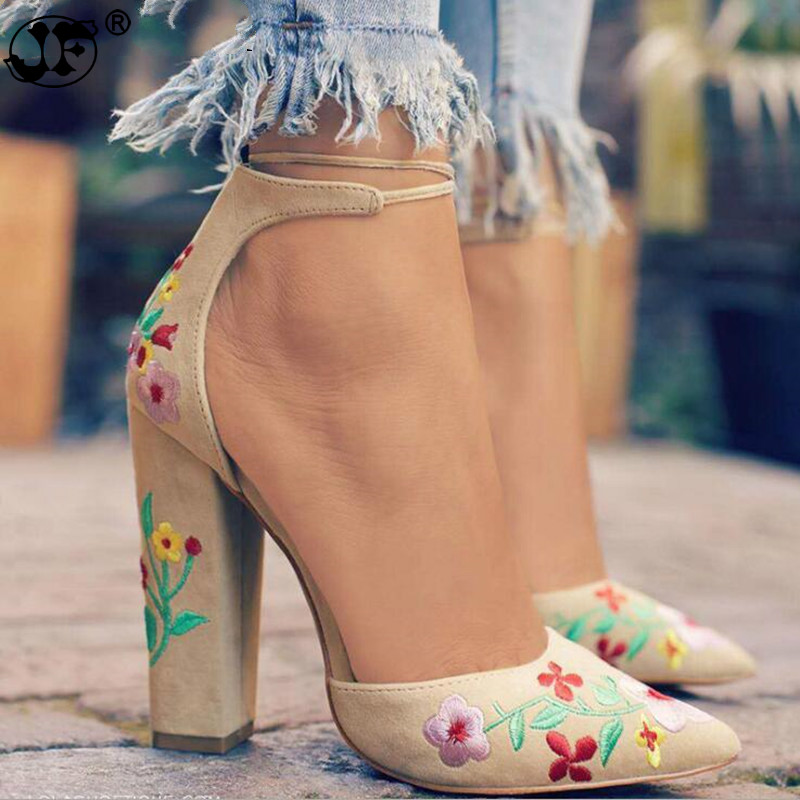 Fashion 2019 Suede Shoes Woman Sandal Embroider High Heel Women Sandals Ethnic Flower Floral Party Sandalias Zapatos Mujer 569j