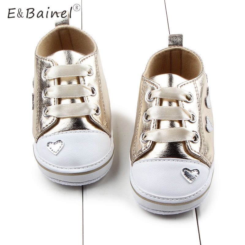 Love Heart Print Toddler Baby Shoes Crib Shoes PU Leather Gold First Walkers Soft Bottom Riband Lace Up Newborn Baby Mocassins