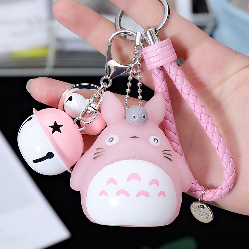 Cartoon Cute Cat  Key Chain Leather Rope Small Bells Keyring Women Auto Keychains Charm Bag Accessories Jewelry