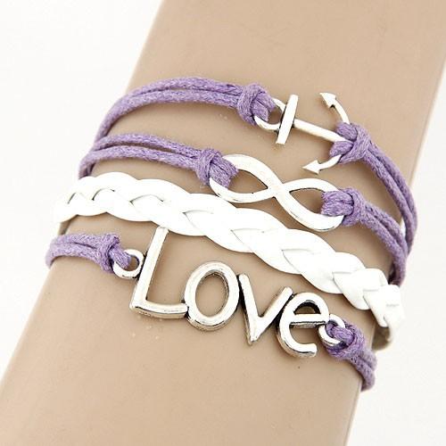 Leather Charm Bracelet - purple white love