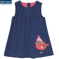 Dot Pattern Girl Dresses Fall Dress For Girls Flannel Girls Sleeveless Dressy Dresses Blue Kids Dressy