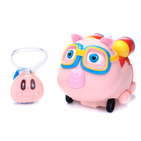 Newest Small Pig Children Watch Remote Control Car Smart Toy Cartoon 2.4G Infrared Follow Intelligent Induction Spray Toy Car