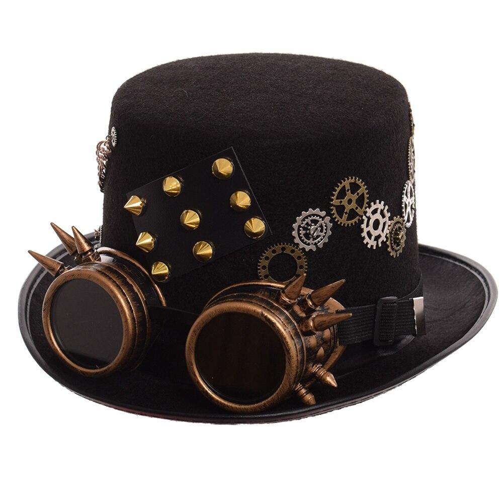 c03bb7e990c Gothic Vintage Men Woman Steam Punk Hat Gear Rivet Glasses Top Hat Punk  Unisex Party Black Fedora