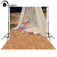 Allenjoy photography backdrop picnic tent Basket flower grass white yarn baby shower children background photo studio photocall