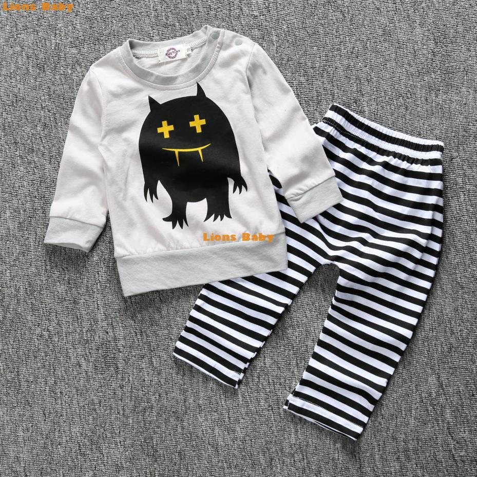 2016 Spring Little Monster Boys Baby Top T-shirt + Cross Stripe Pants Baby Boys Girls Clothing Set Kids Clothes Free Ship Dhl