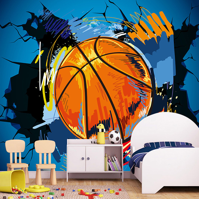 3d cartoon basketball broken wall mural graffiti wallpaper for Basketball mural wallpaper