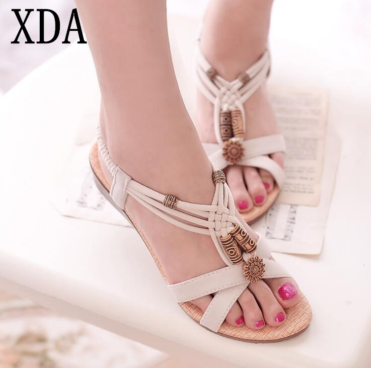 XDA 2018 NEW Bohemian beads Women sandals comfort sandals summer retro Ladies shoes fashion flat sandals women shoes F99 2018 new summer women sandals shoes fashion comfortable girls sandals footwear flat sexy causal ladies solid women shoes est1009