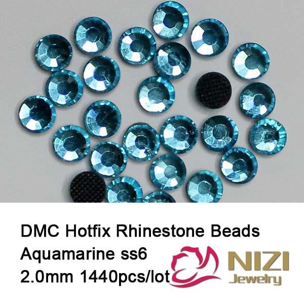 Free Shipping! 1440pcs/Lot, ss6 (1.9-2.1mm) High Quality aquamarine color DMC Iron On Rhinestones / Hot fix Rhinestones
