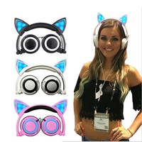 Cute Cat Ear Headphones Creatives Luminous Foldable Flashing Glowing Gaming Headset With LED Light For Sumsung