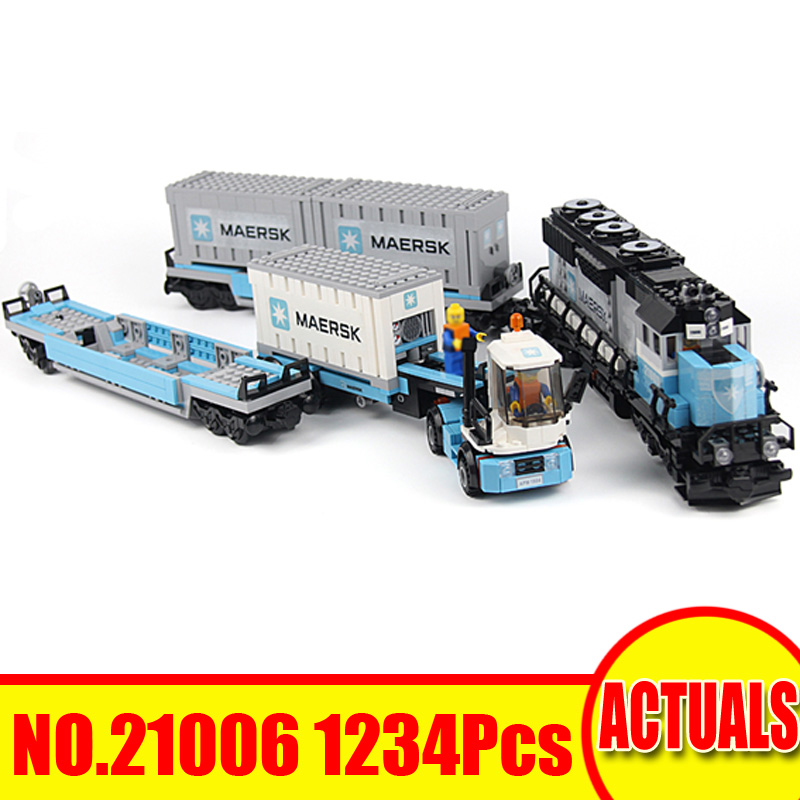 1234Pcs 21006 LEPIN Technic Series Model Building Kits Figures Blocks Bricks Maersk Train Toy For Children Compatible With 10219 a toy a dream lepin 15008 2462pcs city street creator green grocer model building kits blocks bricks compatible 10185