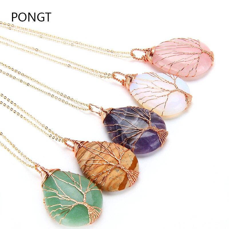 Naturale viola Quarzo Opal Pietra Pendenti con gemme e perle Fatti A Mano In Oro Rosa di Colore Albero della Vita Avvolto A Forma di Goccia di cristallo del pendente della collana