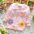 Весна Осень Детские Пальто для Девочек Dot Pattern Украшение Цветка Детская Одежда Хлопок Принцесса Стиль Детские Куртки