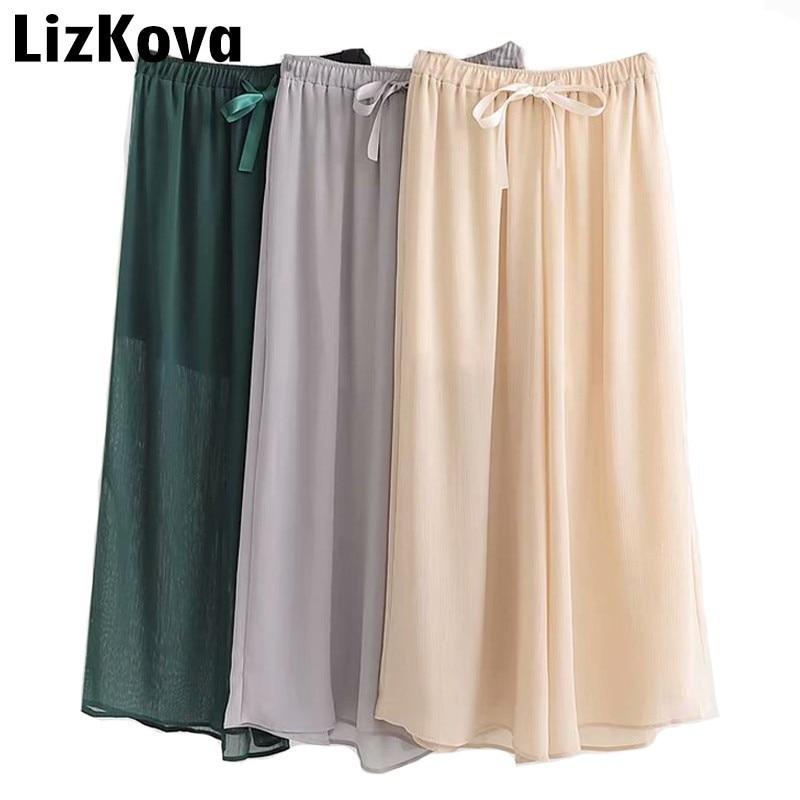 Korean Chiffon   Pants   High Waist   Wide     Leg     Pants   Summer Sexy Transparent Loose Trousers Women