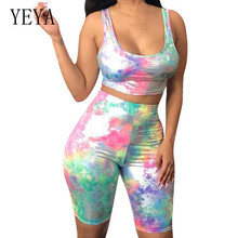 YEYA Casual Sports Tie-dyed Sleeveless Shorts Two Pieces Sets Jumpsuits Women Vintage Hollow Out Bodycon Playsuits Mono Mujer