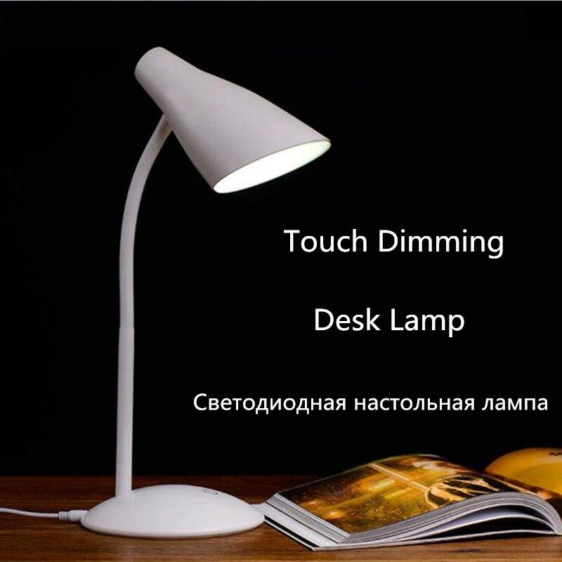 Touch Sensor 3 Level Dimming LED Desk Lamp Light Flexible USB LED Reading Light Desk Table Lamps for Study luminaria de mesa crystal table lamps for bedroom desk light crystal touch sensor led table lamp shade lamparas de mesa