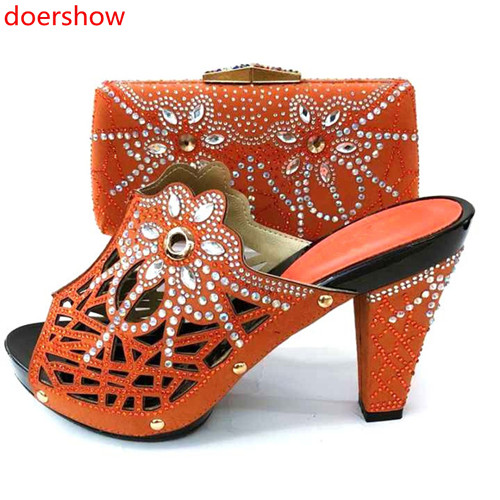 Doershow Italian Shoes With Matching Bags Set Italy African Women's Party Shoes And Bag Sets Orange Color Women Shoes! SM1-3