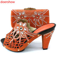 doershow Italian Shoes With Matching Bags Set Italy African Women's Party Shoes and Bag Sets orange Color Women shoes! SM1 3