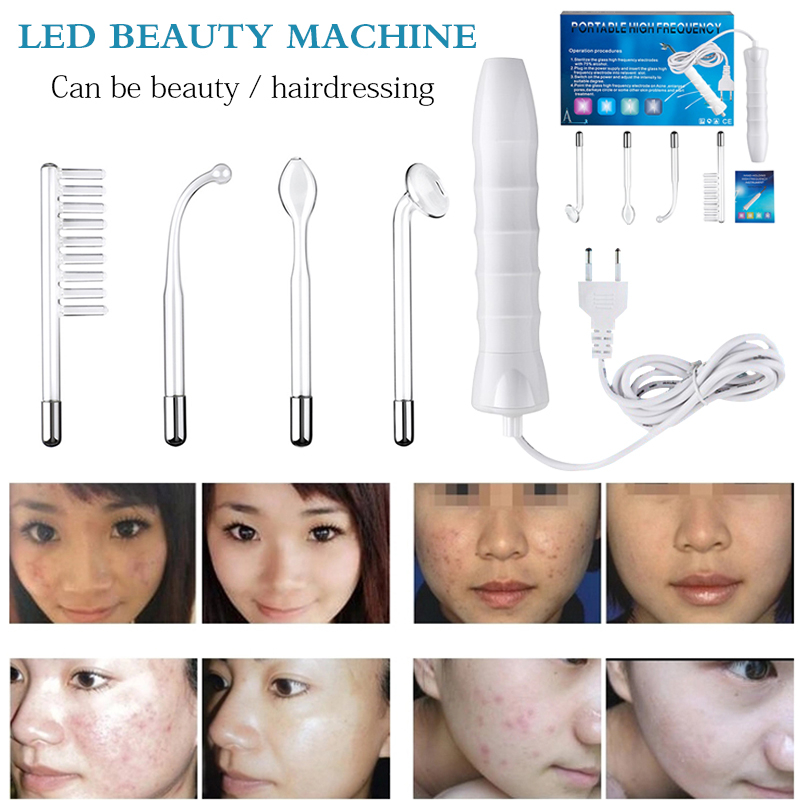 Portable High Frequency Facial Wand Hair Care LED Light Electrode Spot Acne Remover Skin Care Face Hair Spa Salon Beauty Device