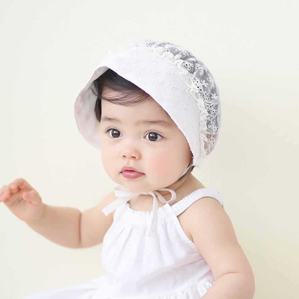 New Unisex Infant Bonnet Retro Cotton Beanie Hat Baby Girls Chapeau Nordic Vintage Lace Toddler Bonnet Christening Baptism Cap