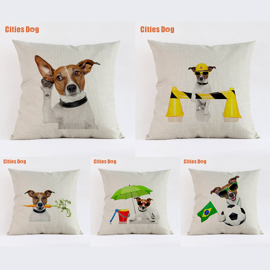 Cushion Sofa Cover Decorative Pillows Animal Jack Russell Terrier Dog 2018 New Year Easter Gift Pillowcases Almofada Cojines