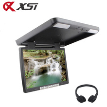 XST 15.4 Inch HD 1080P Video Car Roof Flip Down Ceiling Mount Monitor MP5 Player Support USB SD Card Sperker IR FM Transmitter