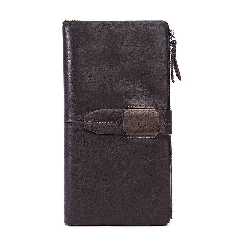 Hot Brand Designer Men Leather Wallets Large Space Practical Zipper Coin Purse 2018 New Arrivals Long Vintage Style Card Wallet
