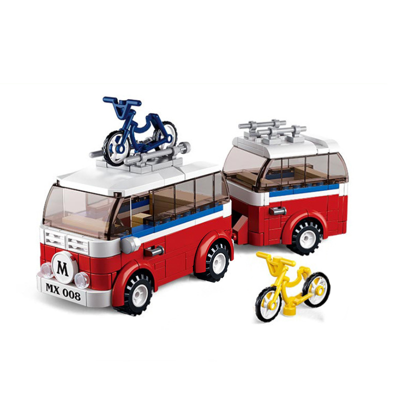 324Pcs Motorhomes SimCity Series Bus Camping Cars Bicycle Building Blocks Bricks Toys For Children Christmas Gift Legoings 0566 битоков арт блок d 324