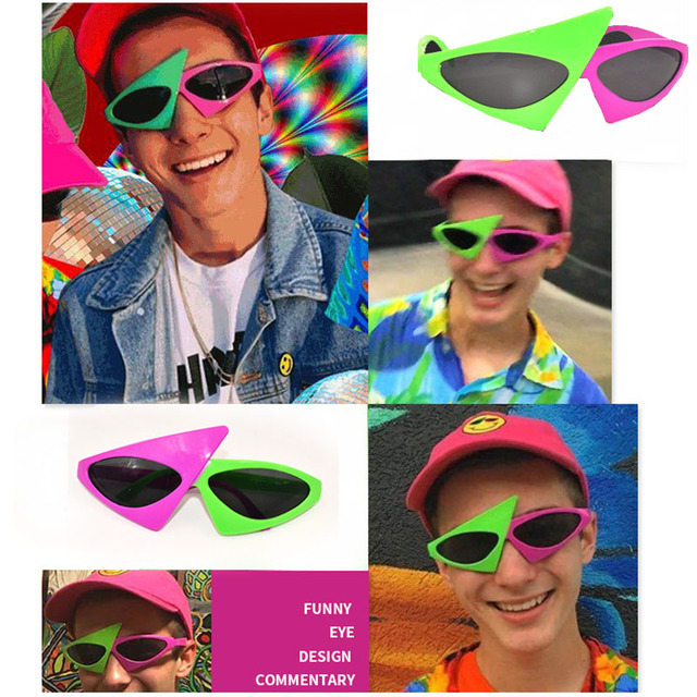 e8d5799624 Roy Purdy Pink Green Glasses Music Hip Hop Funny Party Shape Sunglasses Bar Party  DIY Eye