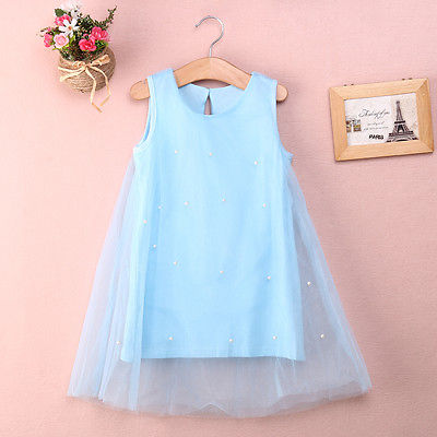 Pageant Fairy Baby Girl Princess Party Dress Pearl Tulle Gown Dress - Barnkläder - Foto 5