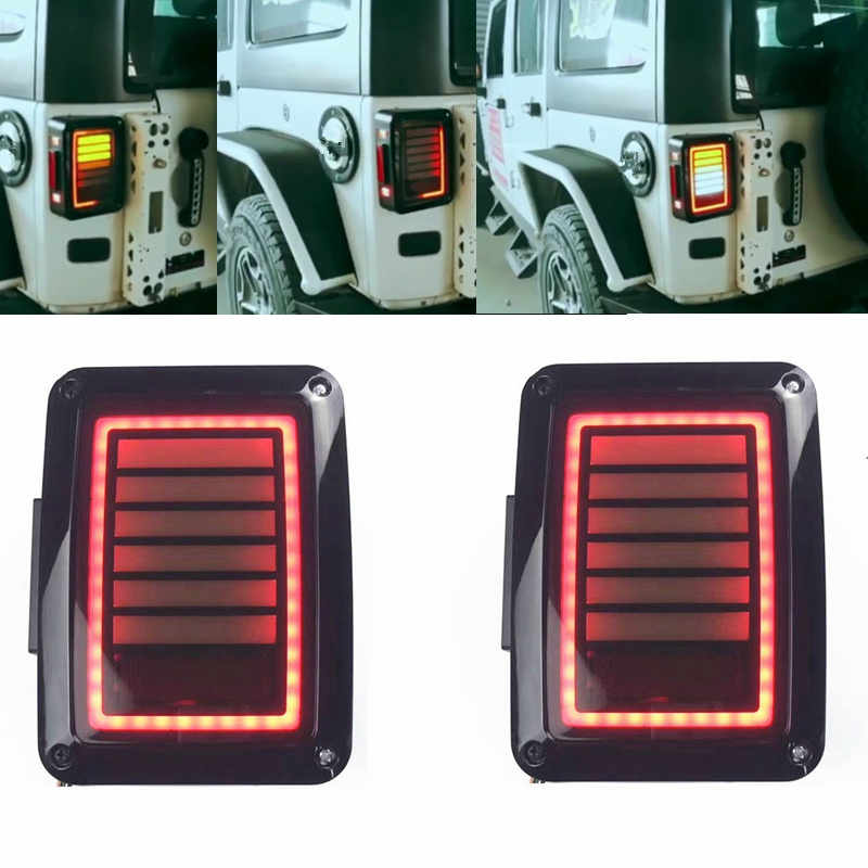 2pcs Reverser Brake Turn Signal Car LED Tail light For Jeep wrangler JK 2007-2016 For Jeep Wrangler JK LED Tail Lights Brake Tu for jeep wrangler jk 2007 2016 tail light diamond smoke led tail light