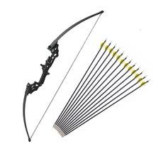 Arco recurvo de tiro con arco de 40 libras, arco de caza de tiro con accesorios, flechas de tiro con arco, soporte para árbol ciego, 12 Uds.