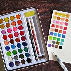 Image 2 - Juego de pintura de acuarela sólida en 36 colores Kit completo de pigmento de pintura portátil, caja de hierro, regalo para estudiantes principiantes, suministros de Arte Artístico para artistas