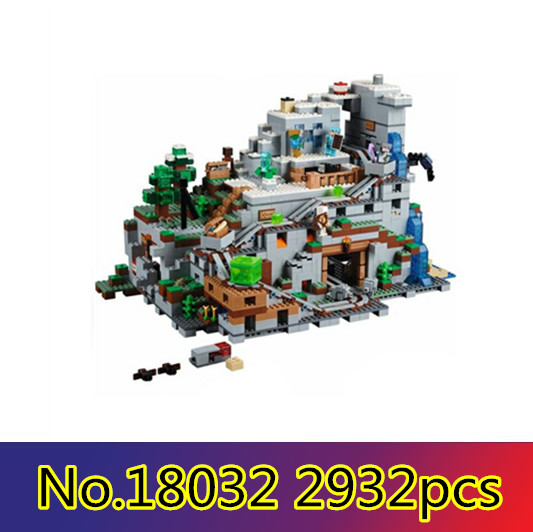 Model Building Kit Blocks Bricks Miniecraft 2932pcs The Mountain Cave My worlds LEPIN 18032 Compatible with lego 21137 игра lego worlds [ps4]