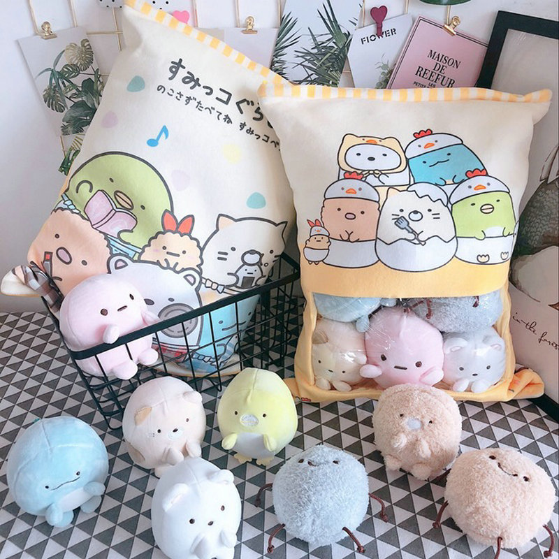 A Bag Of 8pcs Snack Pudding Soft Plush Toy Bear Cat Monster Plush Pillow Creative Anime Throw Pillow Cartoon Doll Toys For Kids