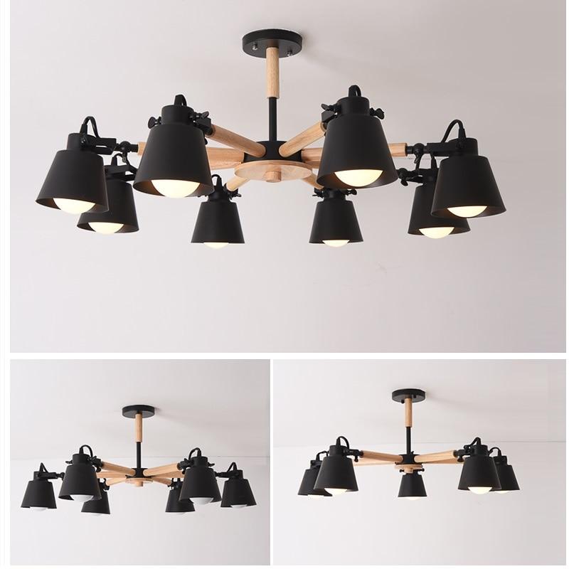 Image 5 - New Arrive Nordic Chandelier E27  Modern Living Room chandeliers Suspension Lighting Fixtures Lam paras  Wooden Chandelier light-in Chandeliers from Lights & Lighting