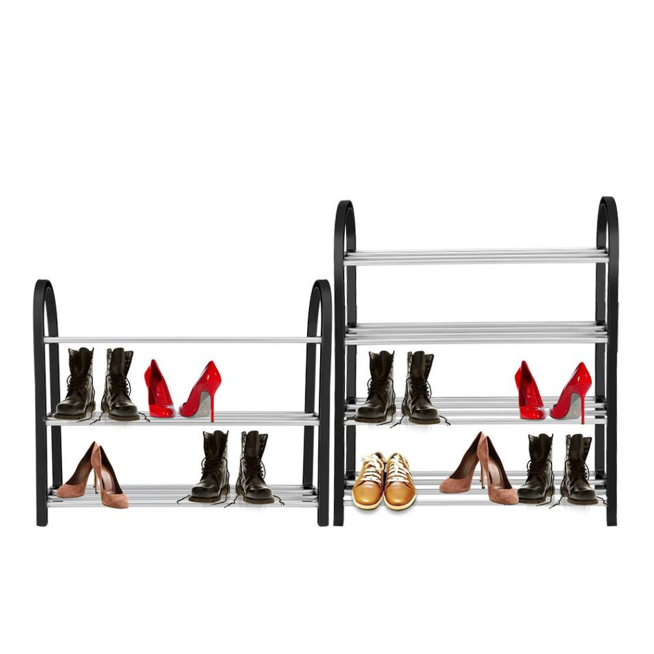 Up To 4 Tiers Aluminum + Plastic Shoe Rack 6