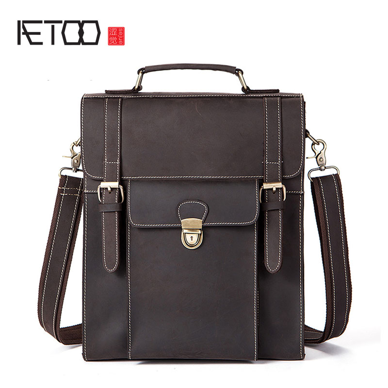 купить AETOO Retro Crazy Horse Leather Men's Bag Backpack Multifunction Student Bag Leather Bag по цене 6329.89 рублей