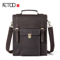 AETOO Retro Crazy Horse Leather Men's Bag Backpack Multifunction Student Bag Leather Bag