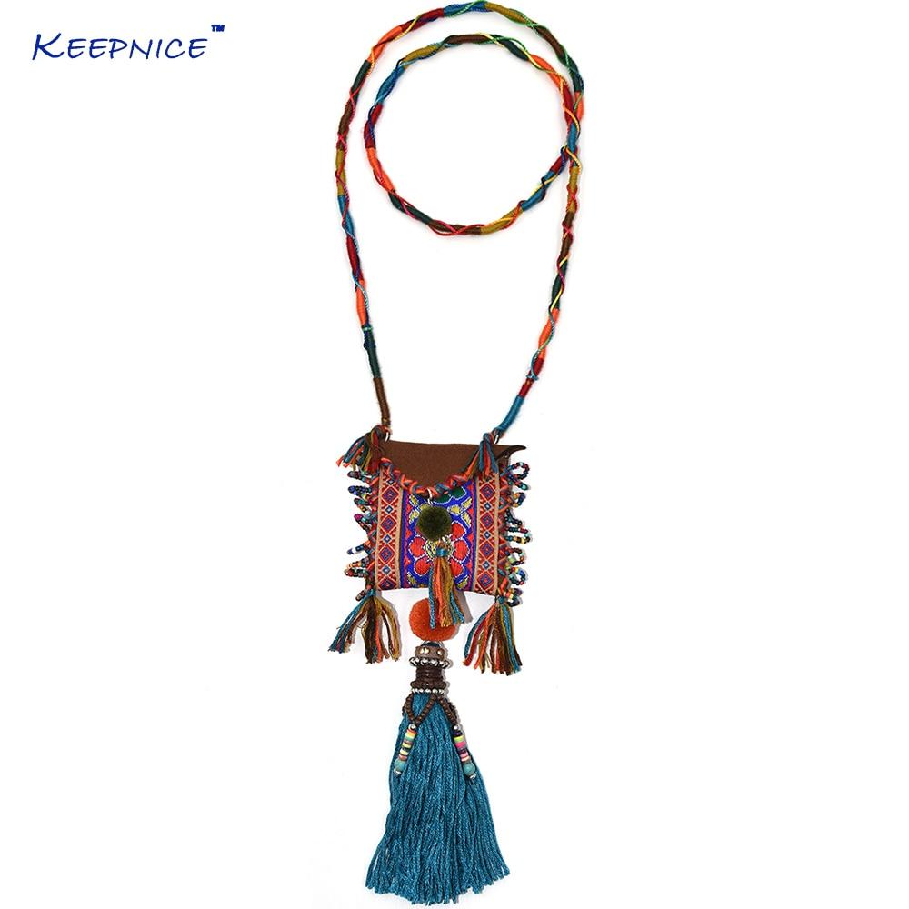 Colar de amuleto cigano com ricamente bordado têxteis grânulo cluster boêmio boho chique têxtil do vintage borla e grânulo colar