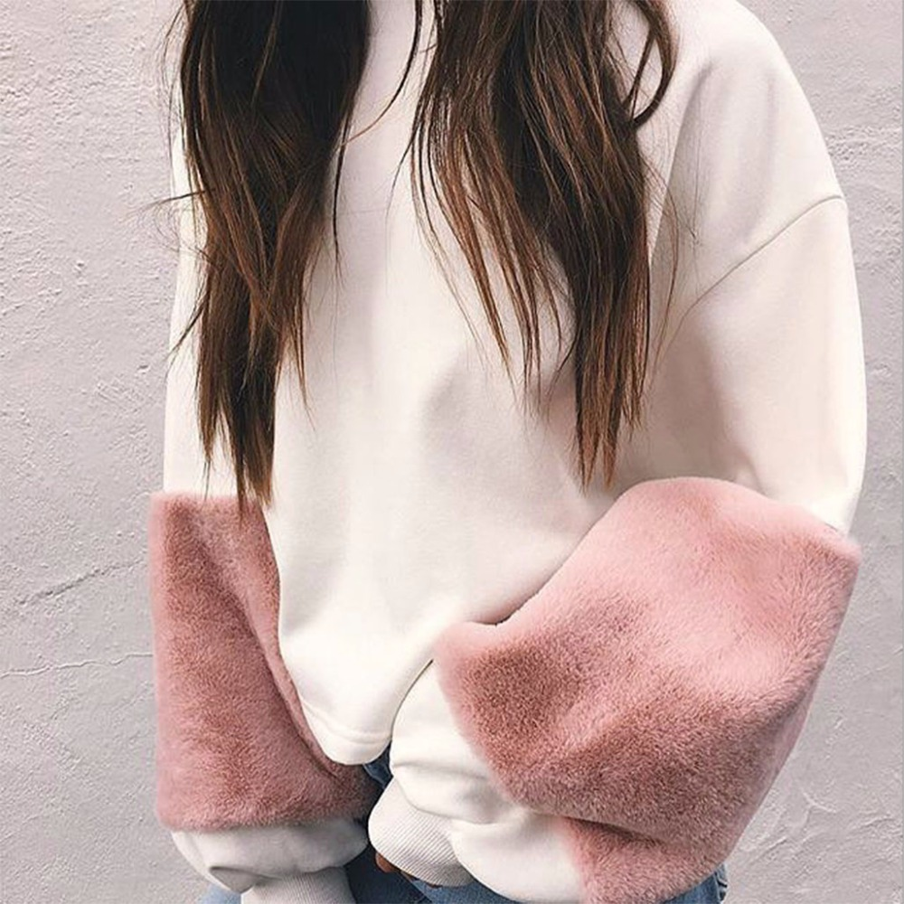 2018 Sweet Girl Fur Sleeves Oversized Sweatshirt Round Neck Long Lantern Sleeved with Faux Fur Patchwork Loose Pullover Shirt