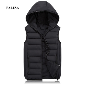 FALIZA New Mens Winter Sleeveless Jacket and Coats Fashion Warm Hooded Male Winter Vest Light Mens Work Vests Waistcoat MJ113 chaquetas sin manga hombre