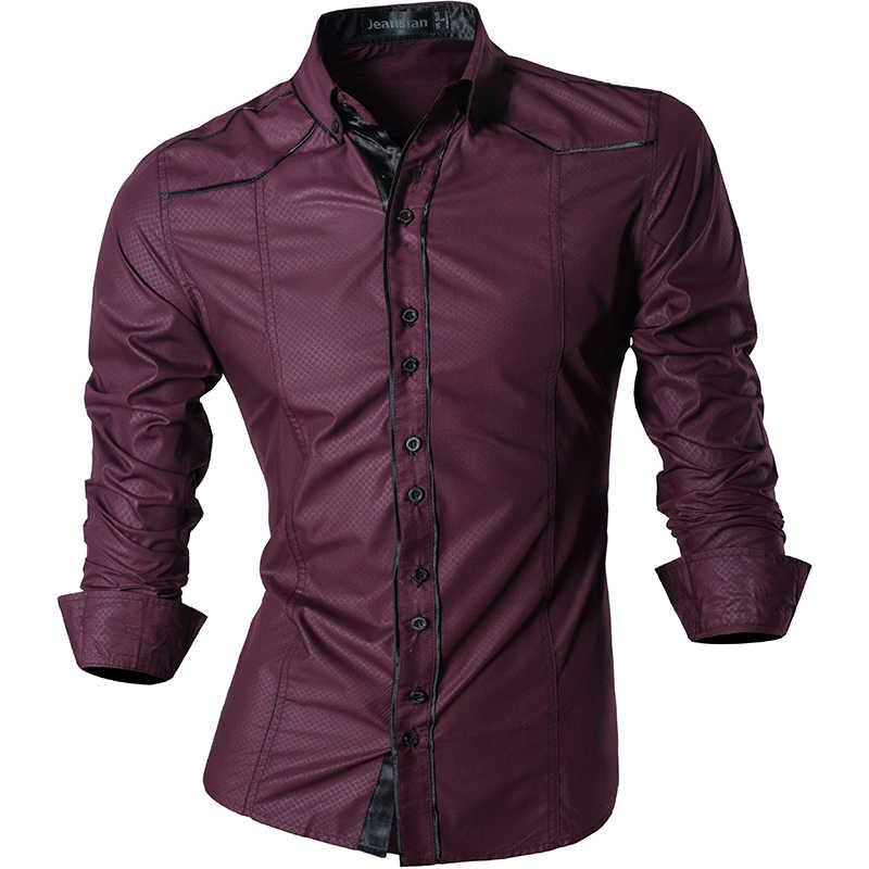 กางเกงยีนส์ฤดูใบไม้ผลิฤดูใบไม้ร่วงคุณสมบัติเสื้อผู้ชายกางเกงไม่เป็นทางการเสื้อใหม่มาถึงเสื้อแขนยาวสบายๆ SLIM FIT ชายเสื้อ Z034