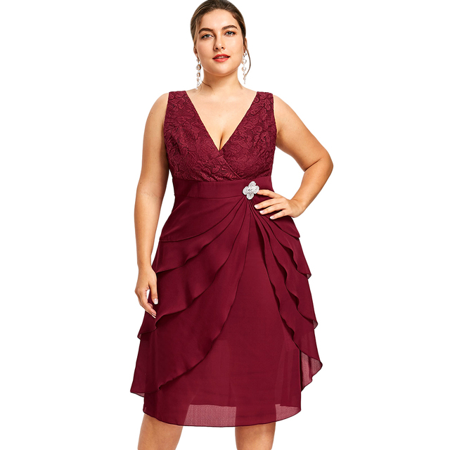 Gamiss Plus Size Sleeveless Tiered Dress With Brooch A Line V Neck ...
