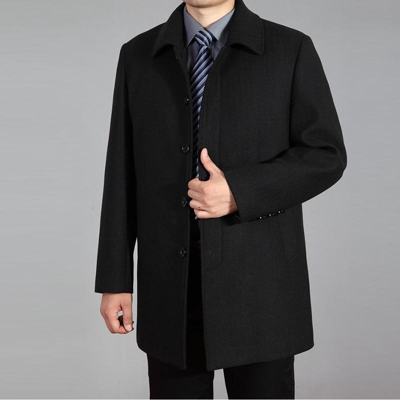 2019 abrigo de lana de alta calidad para hombre otoño invierno abrigo de lana chaqueta de lana abrigo de guisante para hombre abrigo largo de invierno Homme plus tamaño 7XL - 2