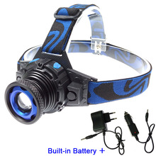Portable mini headlamp built-in battery led head lamp tactical 3 modes focus rechargeable headlight for camping+AC,car charger