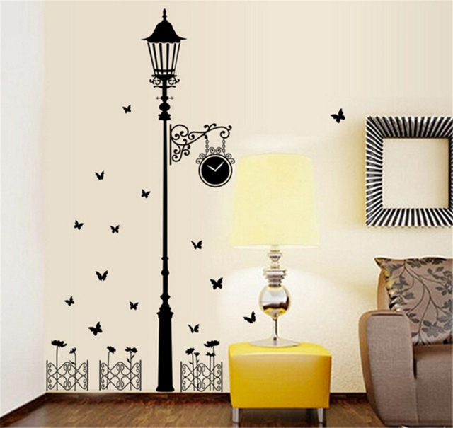Modern Minimalist Street Lamp Flying Butterfly Fence Wall Decals ...
