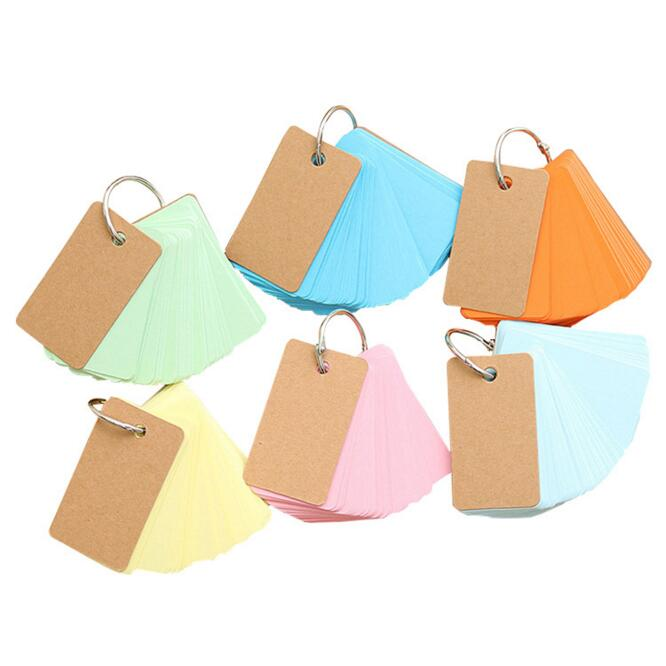 Candy Color 1PC 90 Sheets Pocket Loose Leaf Blank Vocabulary Notebook Mini Memo Note Card Office School Stationery