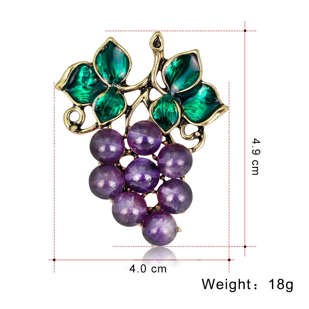 2018 Bros Enamel Pin Lencana Anggur Pin dan Bros untuk Wanita Buah Perhiasan Bros Tanaman Lencana Pada Pakaian